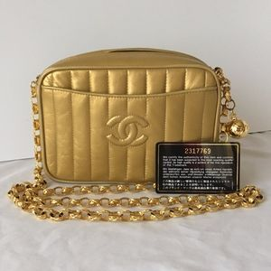 CHANEL Gold Lambskin Camera Bag w Gold Ball Zipper